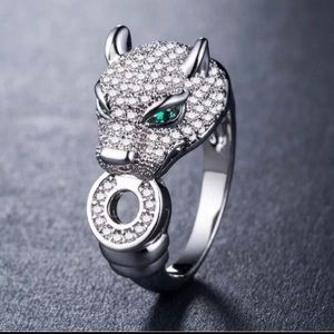 Leopard Emerald & White Sapphire Silver Ring